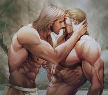 шрам, озеро, поцелуй, парни