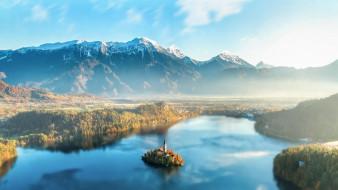 города, блед , словения, горы, озеро, церковь