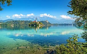 города, блед , словения, церковь, озеро, горы