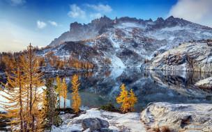 природа, горы, озеро, отражение