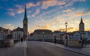zurich, switzerland, города, цюрих , швейцария, закат, вечер, церковь, цюрих, фраумюнстер, мост, часовня