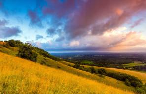 south downs,  plumpton,  england, природа, горы, тучи, долина, склон