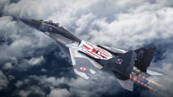 миг 29, авиация, боевые самолёты, дивизия, 303, aircraft, artwork, миг, 29, военные, самолеты, ввс, польши