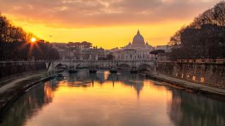 города, рим,  ватикан , италия, закат, канал