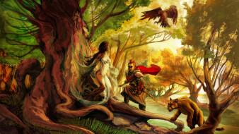 корни дерева, орел, девушка, лес, дерево, сказочные существа