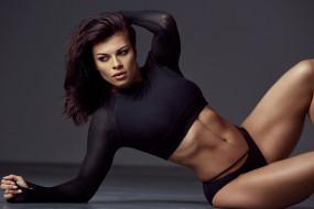 спорт, фитнес, мышцы, стройная, поза, красотка, тренировка, модель, девушка, брюнетка, подтянутая