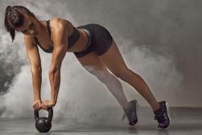 спорт, фитнес, брюнетка, тренировка, модель, девушка, стройная, мышцы, поза, красотка, подтянутая