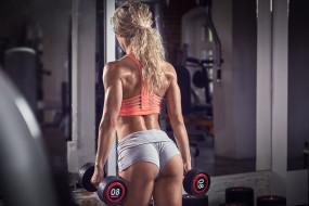 спорт, фитнес, красотка, тренировка, подтянутая, блондинка, модель, девушка, стройная, мышцы, поза
