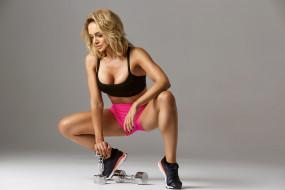 спорт, фитнес, поза, тренировка, стройная, мышцы, красотка, подтянутая, блондинка, модель, девушка