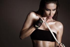спорт, фитнес, стройная, брюнетка, мышцы, поза, красотка, тренировка, подтянутая, модель, девушка