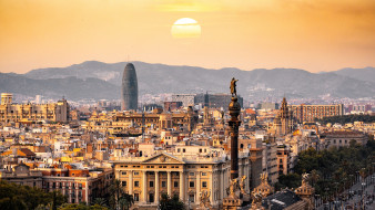 города, барселона , испания, красота, барселона, панорама