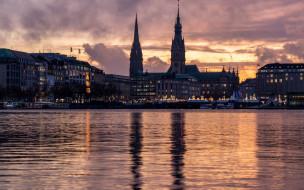 города, гамбург , германия, река, вечер