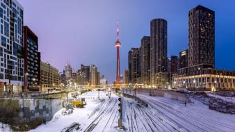 города, торонто , канада, снег, торонто, башня