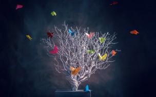 3д графика, атмосфера, настроение , atmosphere ,  mood , дерево, бабочки