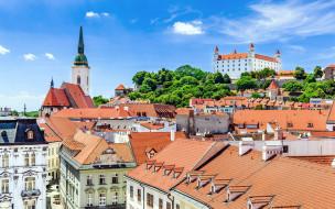 города, братислава , словакия, панорама, здания, крыши, замок