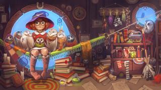 ведьма с 40 совами, рисованное, - другое, книги, шляпа, сова, очки, ведьма