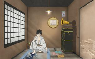 аниме, sayonara zetsubo sensei, окно, очки, парень