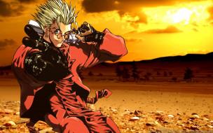 аниме, trigun, оружие, жест, очки, блондин