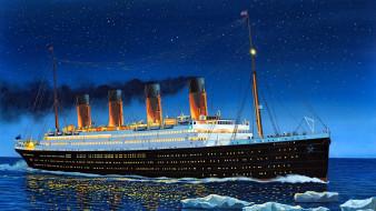 корабли, рисованные, титаник