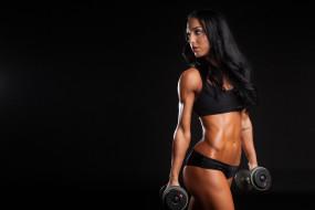 спортивный бюстгальтер, гантели, девушка, тренировка, простой фон