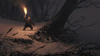 фэнтези, существа, зимний, лес, дерево, огонь, ночь, снег, факел, гном