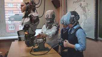 фэнтези, роботы,  киборги,  механизмы, робот, будущее, летающая, машина, окно, учитель, дети