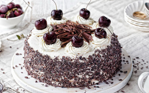 торт, шоколад, вишни