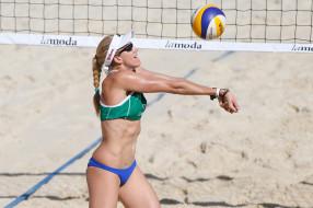 спортсменка, мяч, волейбол, пляжный