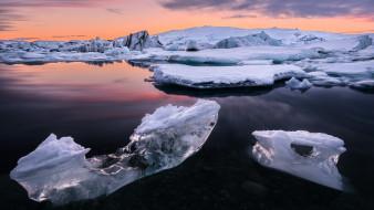 природа, айсберги и ледники, лед, озеро, йёкюльсаурлоун, в, исландии