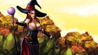 фэнтези, маги,  волшебники, фон, взгляд, шляпа, посох, девушка