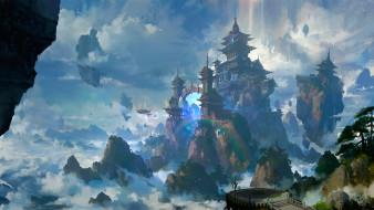 фэнтези, замки, сказочное, место, замок, корабли, портал