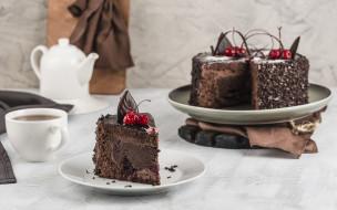 еда, торты, шоколад, торт, вишни