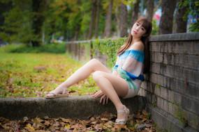 девушки, -unsort , азиатки, блузка, осень, листья, шорты, шатенка, забор, парк