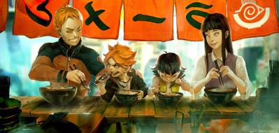 аниме, naruto, узумаки, семья, хамавари, боруто, рамен, кафе, хината, наруто