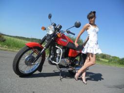 мотоцикл, Ява, Jawa 350, девушка, поза, дорога