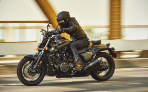 размытые движения, гонщик на байке, супербайк, мотоциклы 2020 года, дорога, 2020 yamaha vmax, yamaha vmax