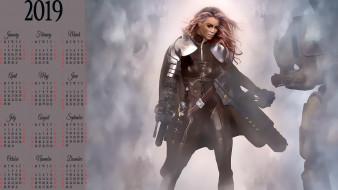 женщина, calendar, девушка, оружие, 2019