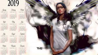 2019, calendar, девушка, крылья