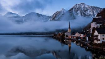 города, гальштат , австрия, вечер, горы, туман, озеро