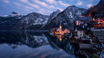 города, гальштат , австрия, горы, отражение, озеро