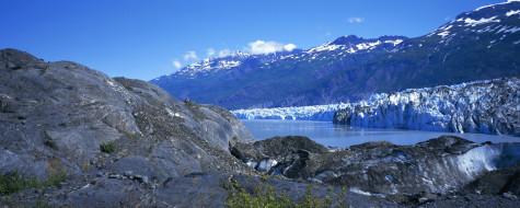 природа, айсберги и ледники, горы, река, ледник, лёд