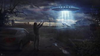 фэнтези, космические корабли,  звездолеты,  станции, нло, поле, дом, человек, похищение, машины