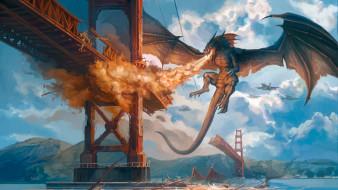 фэнтези, драконы, сказочное, существо, дракон, нападение, мост, пламя, атака, огонь, танк, самолеты