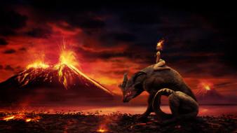 фэнтези, иные миры,  иные времена, девушка, фон, существо, вулкан