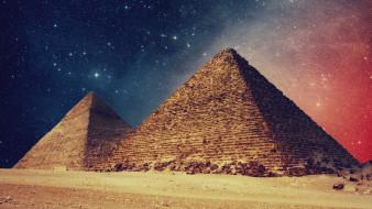 египет, города, - исторические,  архитектурные памятники, пирамиды, звёзды, ночь