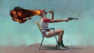 бутылка, пистолет, стул, выстрел, девушка