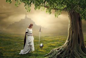 фэнтези, фотоарт, меч, шлем, замок, дерево, фон, девушка