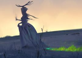 фэнтези, маги,  волшебники, огонь, поле, бокал, рога, женщина