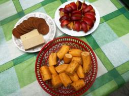еда, бананы, печенье, вафли, яблоки