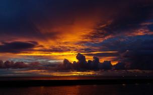 облака, закат